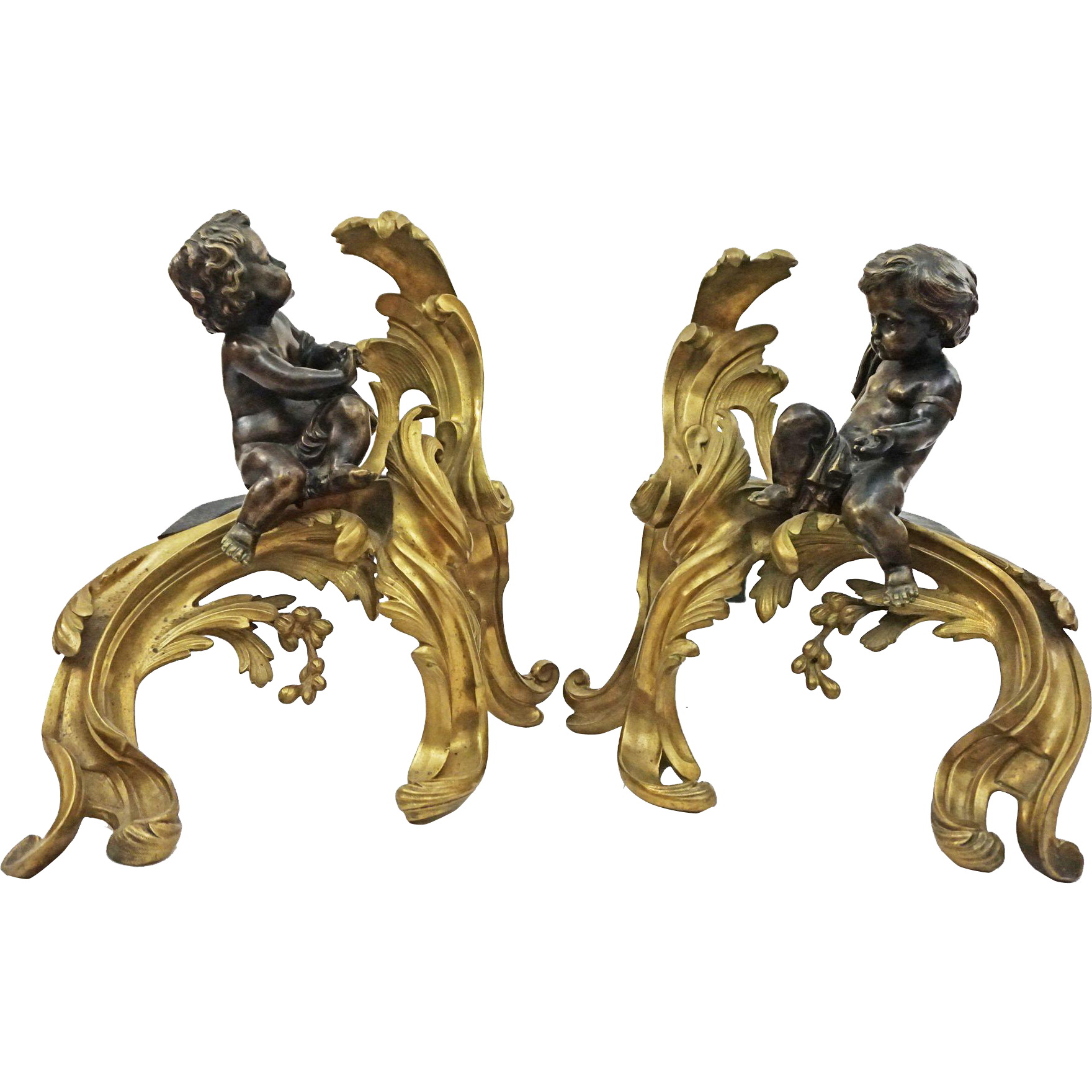 Pair French Chenets Chased Gilt Bronze Rocaille Patinated Putti Fireplace Andirons  - c. 1850, France