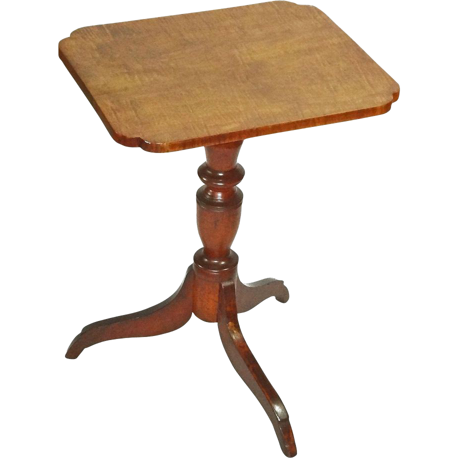 Tiger Maple Candlestand Table Federal Style - c. 19th Century, USA