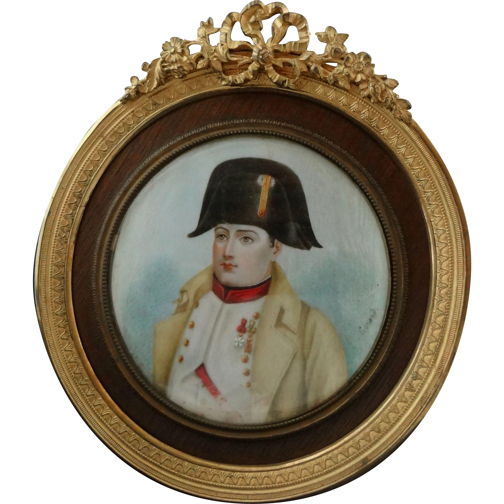 Napoleon Bonaparte Signed Miniature Portrait Painting Gilt Bronze Frame - 19th Century, France