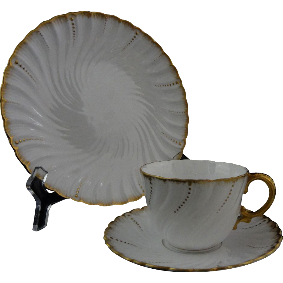 Pair Early French Sarreguemines Louis XV White Gilt Porcelain Cup, Saucer, Plate Trio - c. 1900's, France