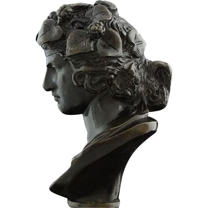 French Classical Bronze Bust of Bacchus as a Young Man after the Antique - c. 19th Century, France