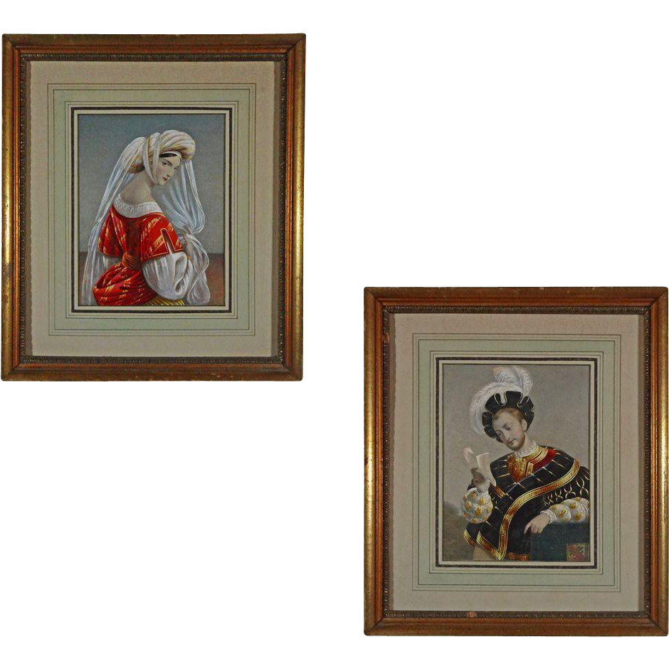 PAIR Medieval Couple Color Lithographs Framed - c. 19th/20th Century, France