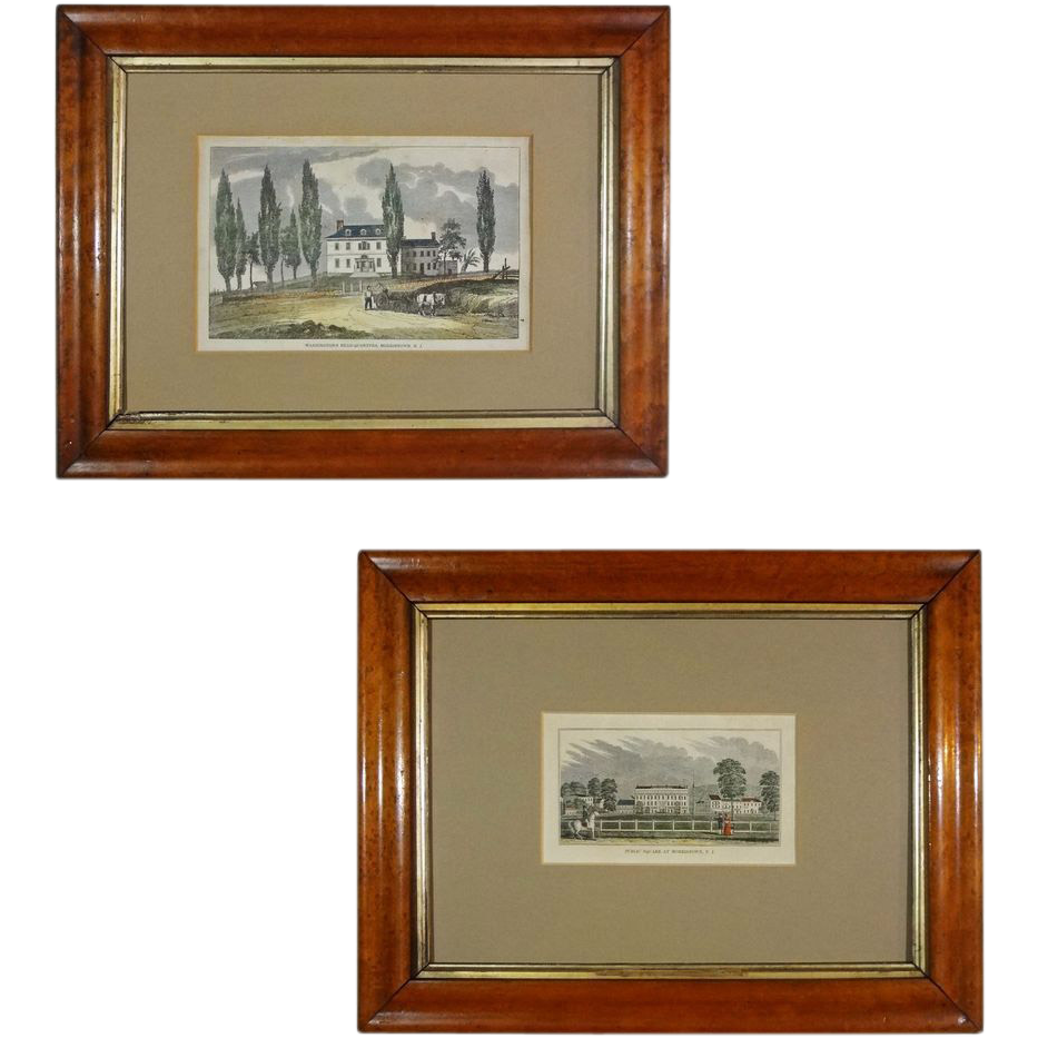Pair Historic Color Engravings Morristown N. J. Washington Headquarters and Public Square - 19th Century, USA