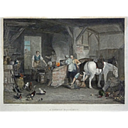 A Country Blacksmith Antique Color Engraving after William Turner R. A. - 19th Century