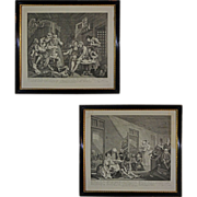 Pair Hogarth's Prison and Madhouse Scenes from Rake's Progress Series Engravings Framed	- 19th Century, England