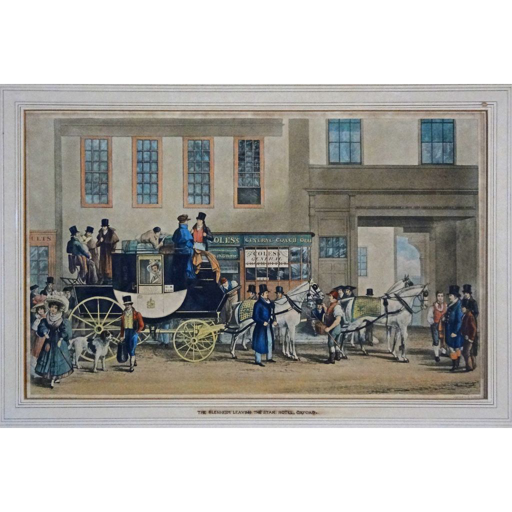 English Coaching Acquatint After George Havell The Blenheim leaving the Star Hotel, Oxford - 19th Century, England