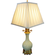 Louis XVI Style Gilt Bronze Mount Celadon Porcelain Lamp