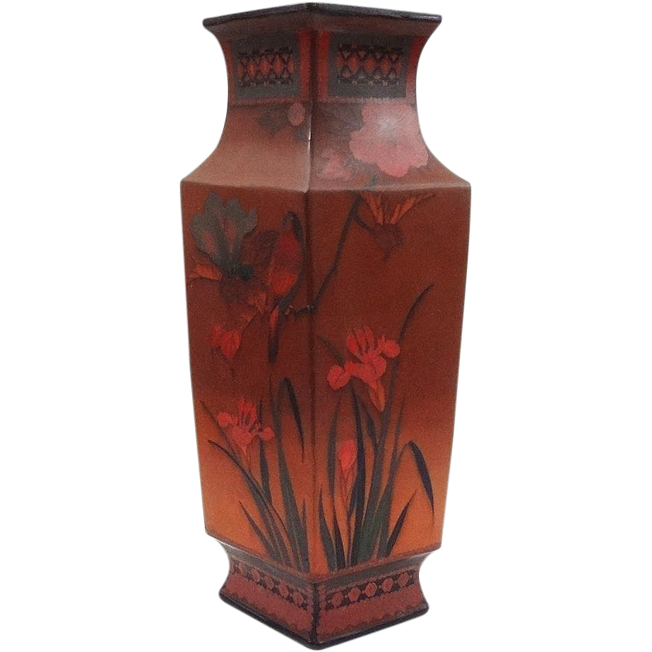 Totai-Shippo Cloisonne on Porcelain Tall Vase  - Meiji Period, Japan