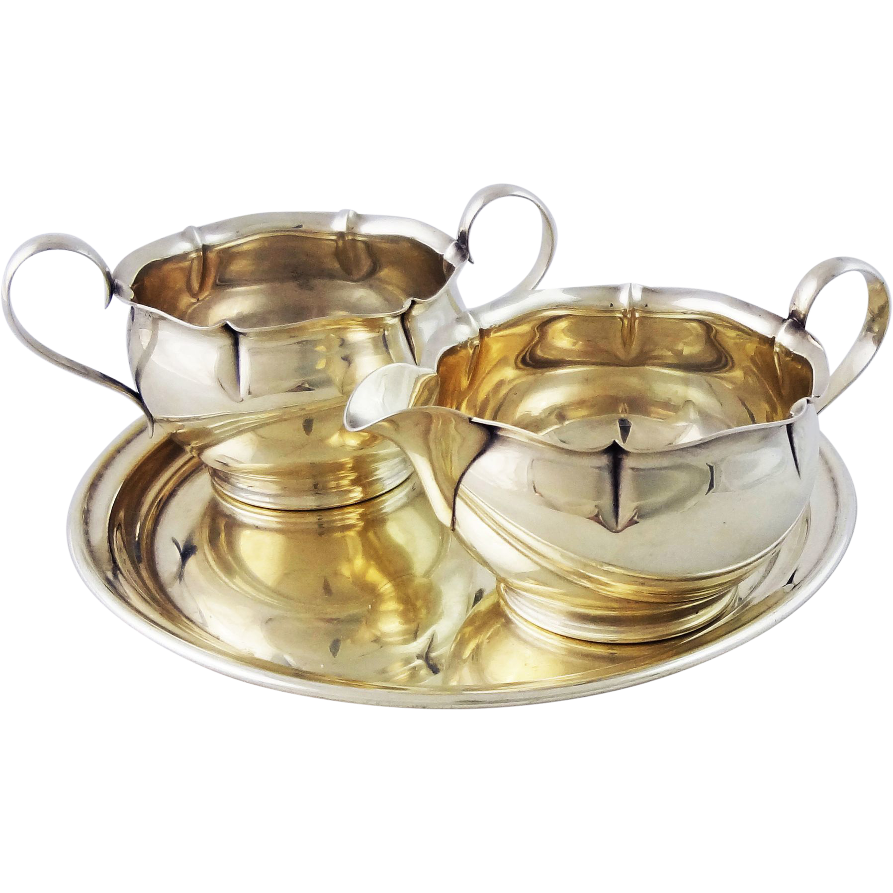 Gorham Sterling Creamer and Sugar Bowl with Circular Raised Border Sterling Tray - 20th Century, USA