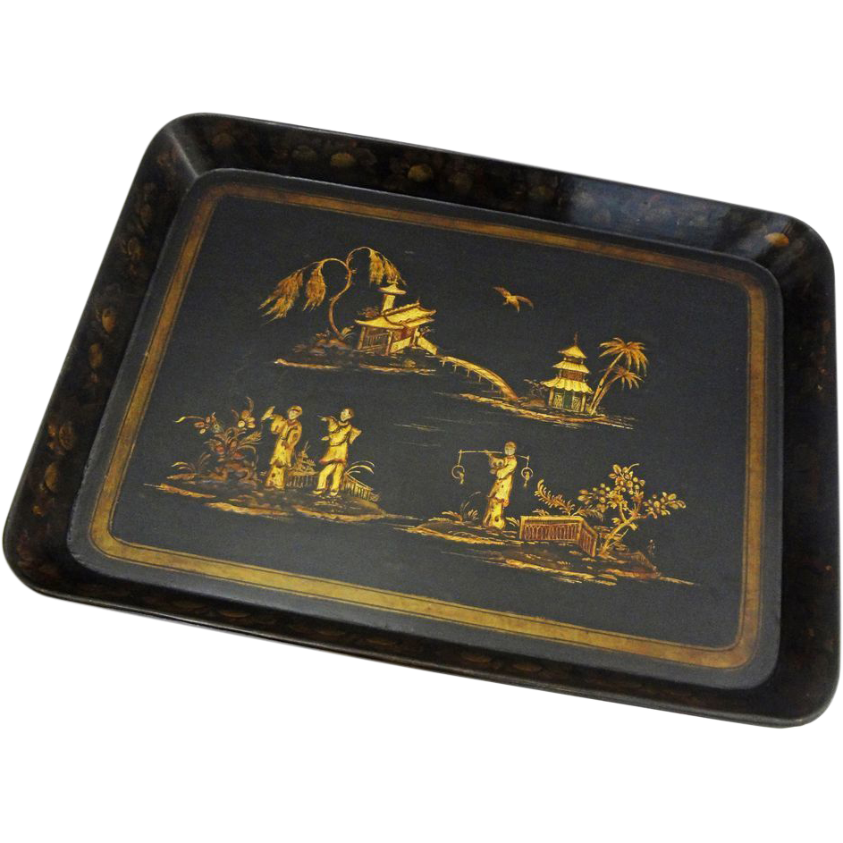 Antique Large Chinoiserie Papier Mache Tray Black Gilt - c. 19th Century, England