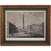Roman Square Engraving View of the Piazza E Colonna Antonina after Pietro Ruga - 19th Century, Italy