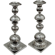 Pair of Tall Fraget Candlesticks Empire Double Eagle Mark Silver Plated - 1896-1915, Poland