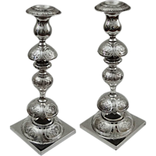 Pair of Tall Fraget Candlesticks Empire Double Eagle Mark Silverplate - 1896-1915, Poland