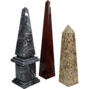 A Collection of Decorative Obelisks Marble, Obsidian, Fossil Jasper