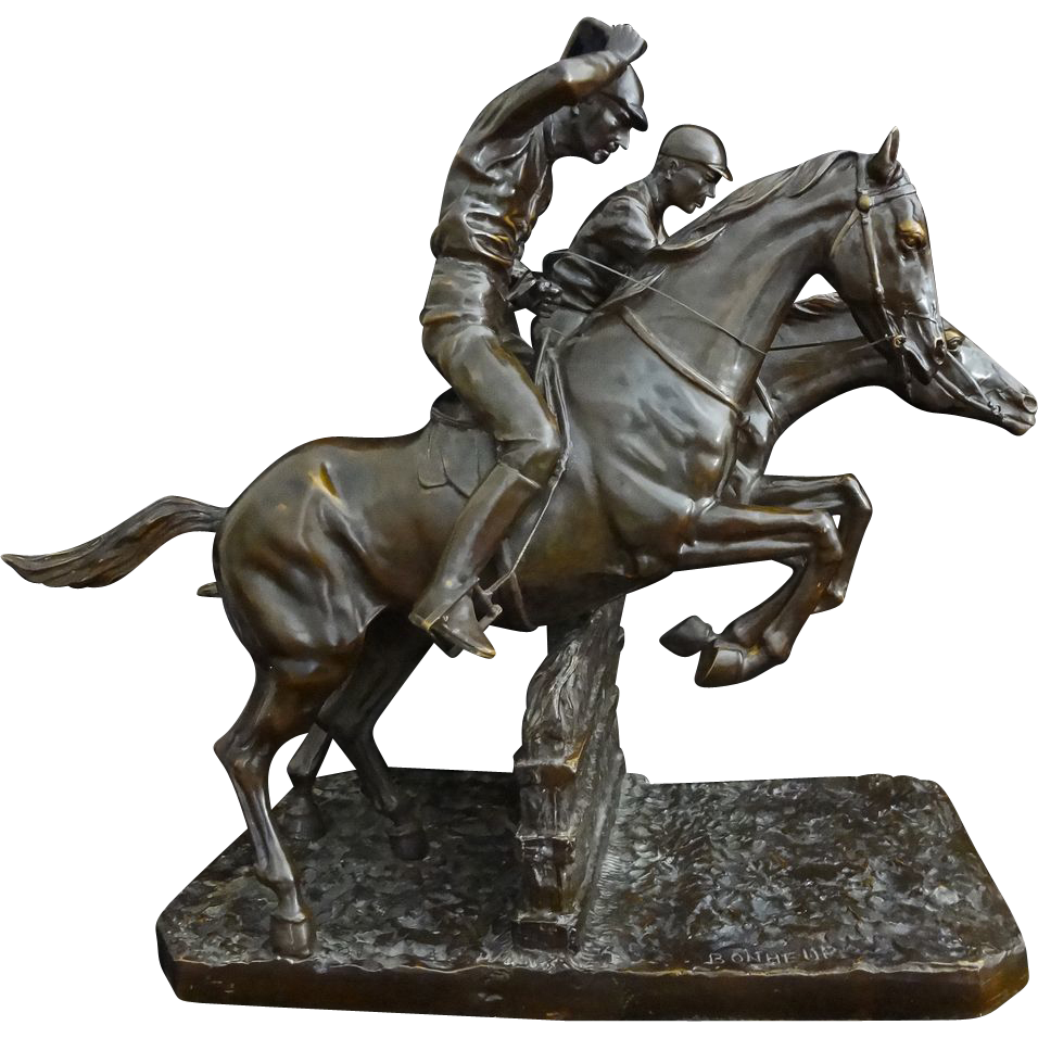 Equestrian Steeplechase Bronze Sculpture after Isidore Bonheur - c. 19th Century, France