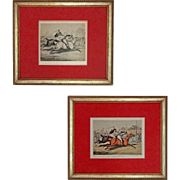 Pair Horse Races by Henry Alken Original Pencil Drawing and Matching Etching - c. 1830's, England