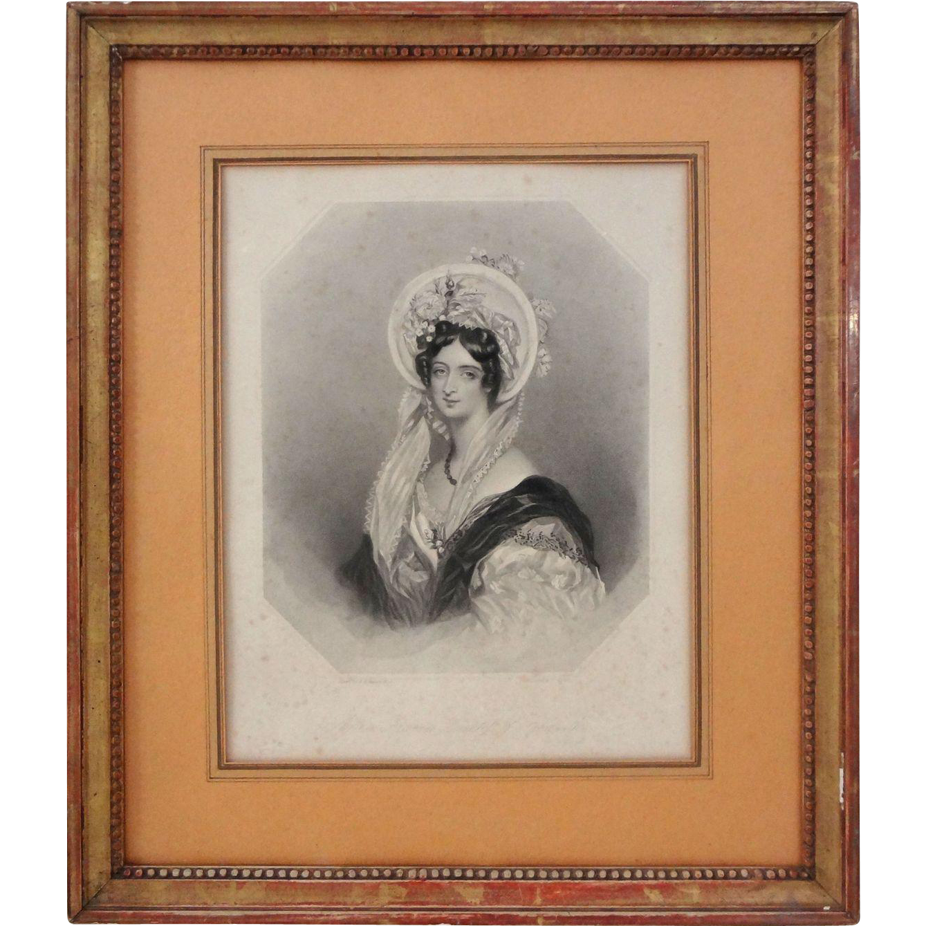 English Peerage Lady Female Nobility Aristocratic Portrait Engraving Portrait Gilt Wood Frame - 1838, England