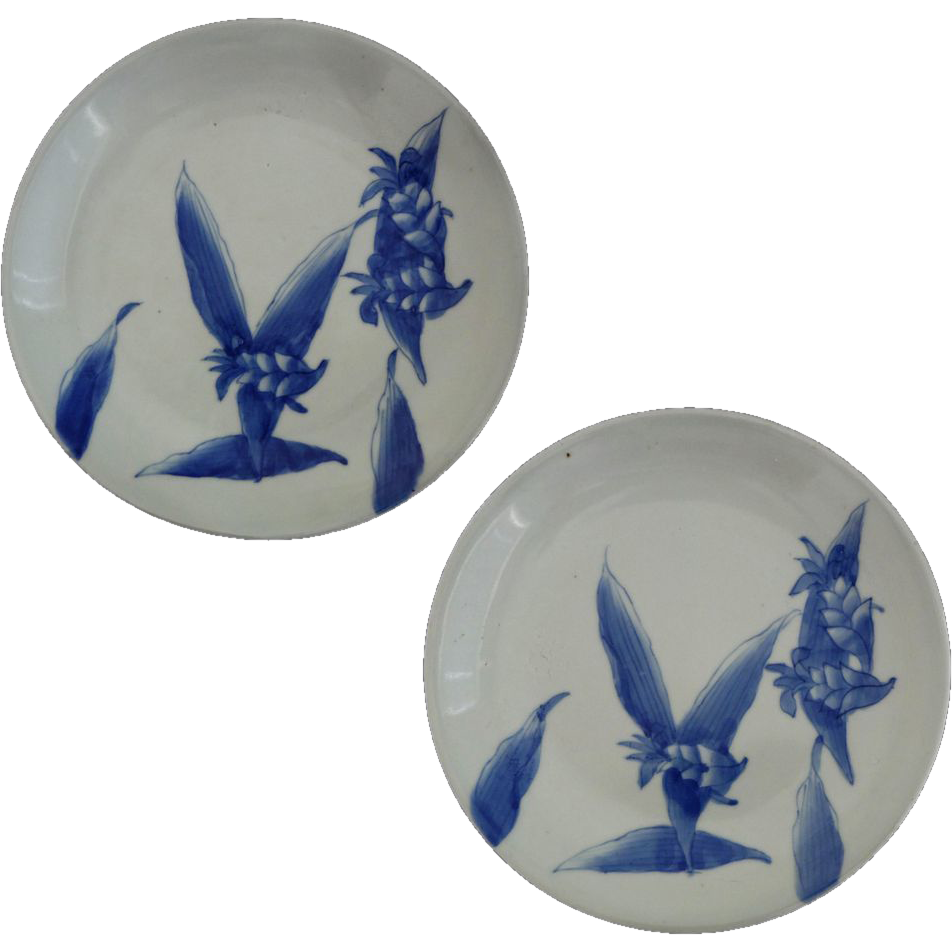 Pair of Japanese Arita Plates Celadon Glaze and Cobalt Blue Ginger Lily Design - c. 20th Century, Japan