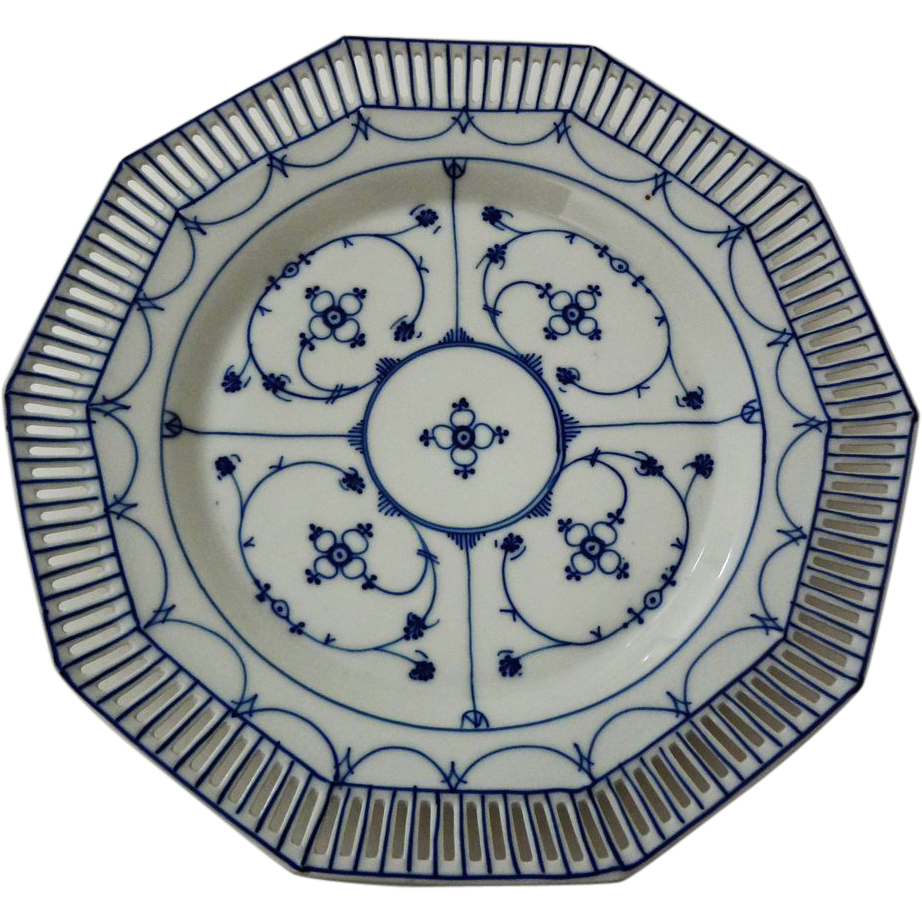 Blue Denmark Reticulated Plate Schumann Mark - 1932-1944, Germany