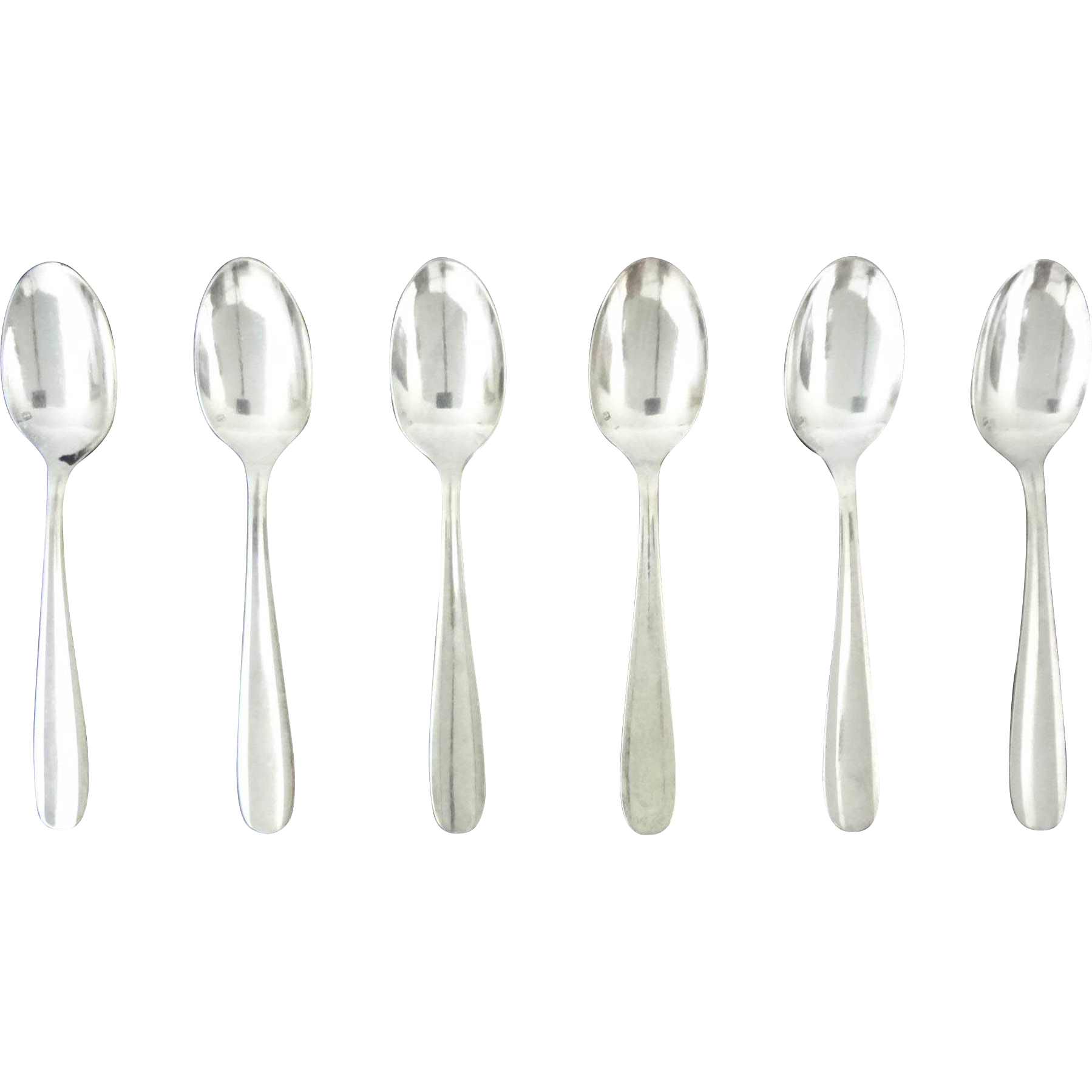 Set 6 Christofle Silver Plate Demi Tasse Spoons Modern Pattern - 20th Century, France
