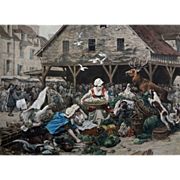 Hallali in a Market (Hallali dans un marché) after Charles Delort, Color Photogravure by Goupil - c. 1879, France