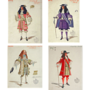 Set 4 English Historical Theatrical Costume Illustrations Watercolor Gouache Paintings - 1857-1964, Covent Garden, London