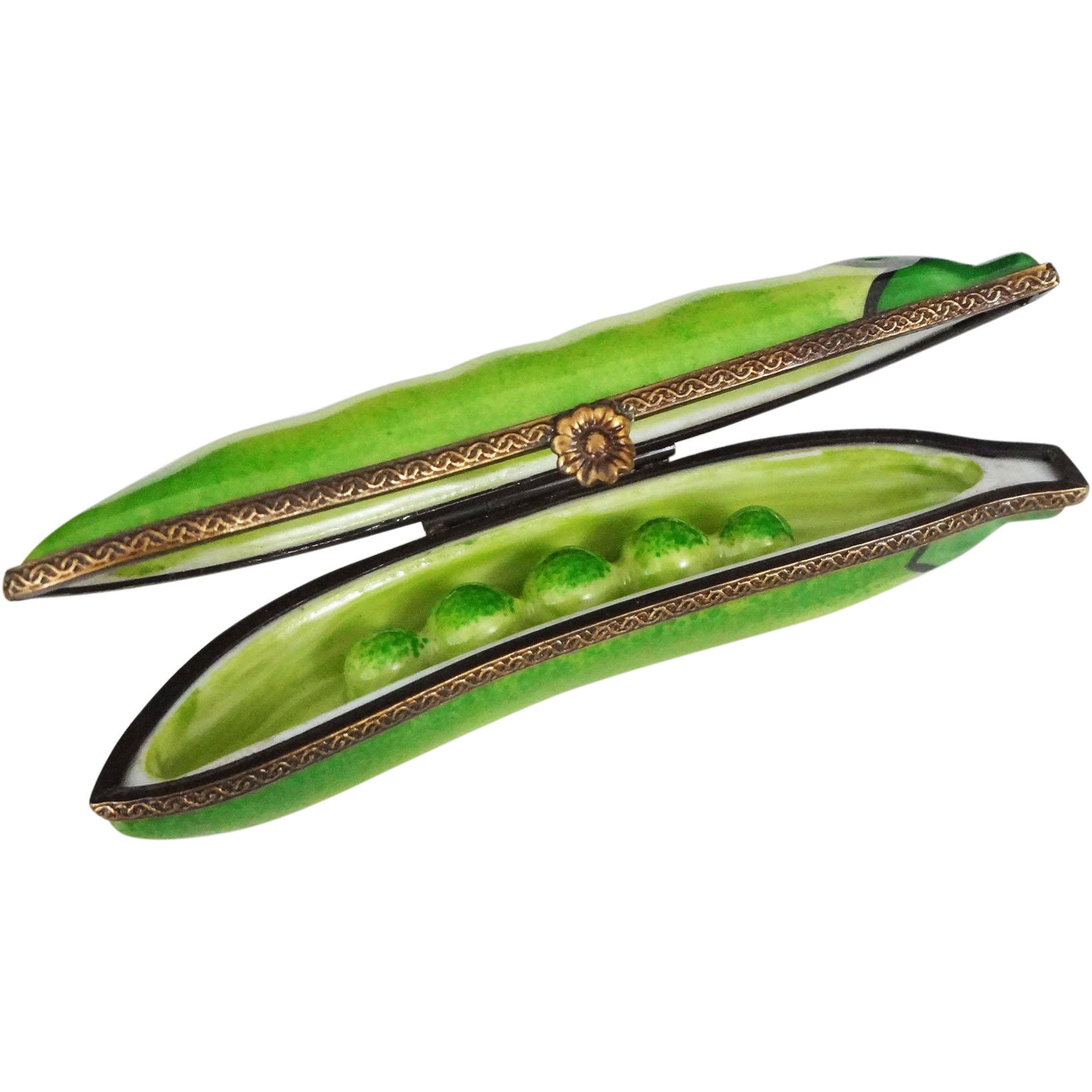 Limoges Porcelain Trinket Box Pea Pod Bronze Mount and Catch