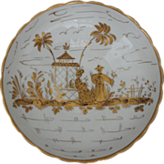 French Chinoiserie Porcelain Bowl Gilt on White - 20th Century, France