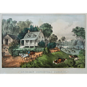 American Homestead Summer Currier Ives Best 50 Hand Colored Lithograph  - 1868, New York