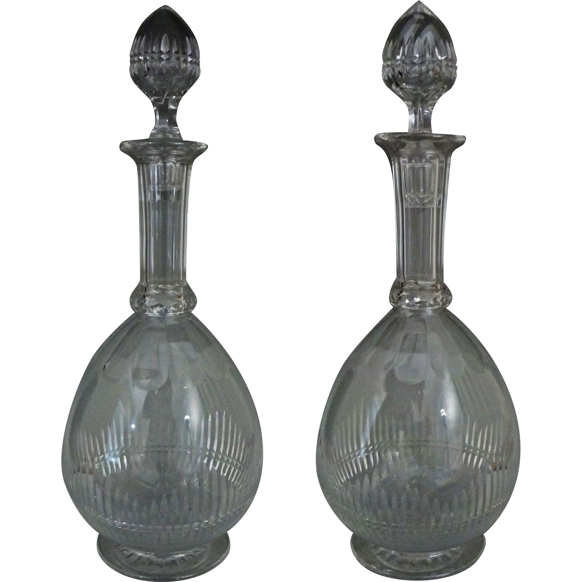 Pair Antique Cut Glass Footed Decanters Shaft and Globe and Hollow Stoppers - c. 19th Century, England