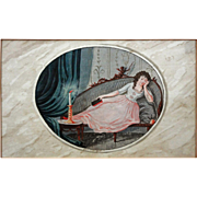German School Miniature Watercolor Painting Young Lady Chaise Longue Candlelit Scene Cupid