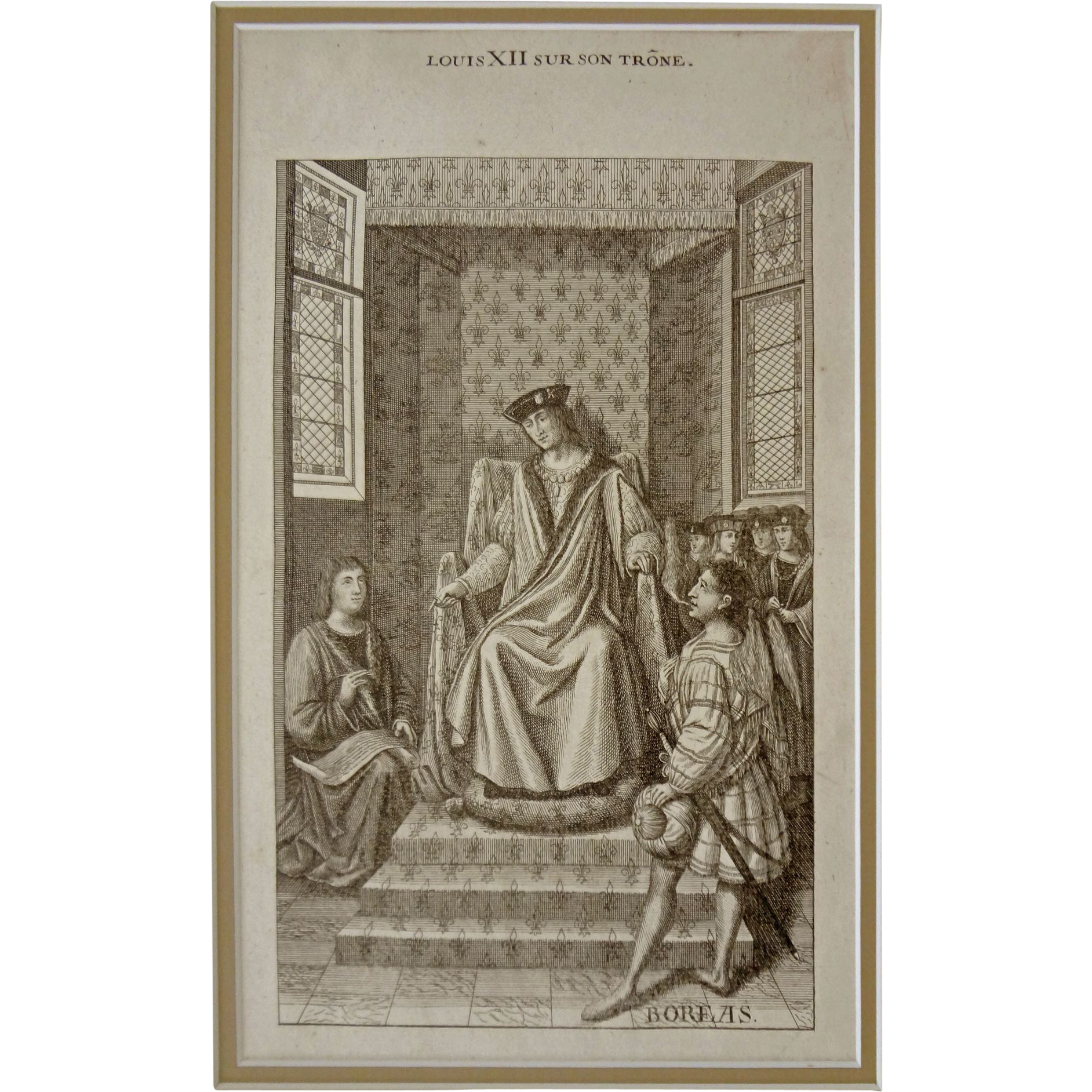 Louis XII sur son Trone Steel Engraving after Jean Bourdichon  - 19th Century, France
