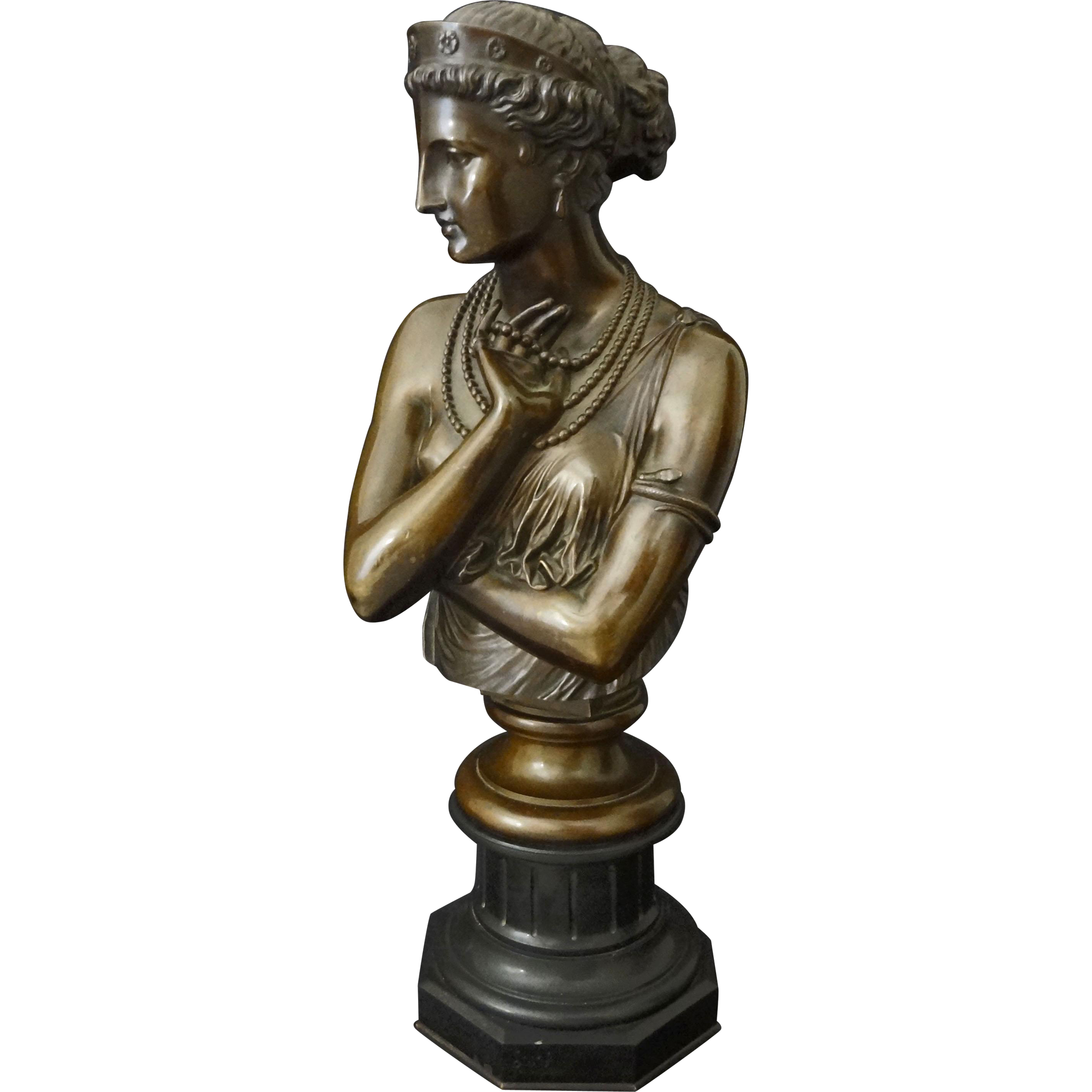 French Bronze Bust Of Helen Of Troy Signed J Clesinger