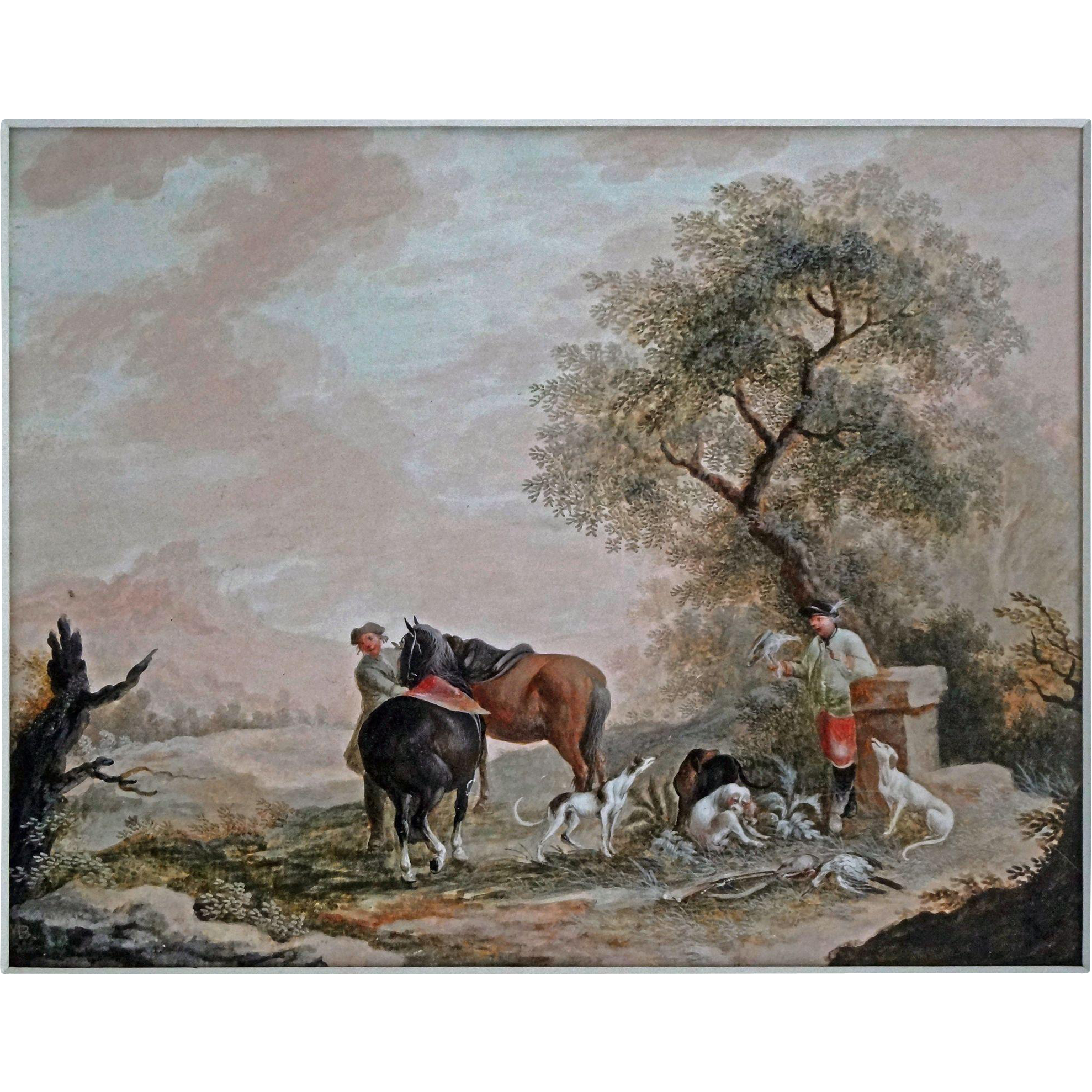 After the Hunt Sporting Painting Greyhounds, Hawk, Game Birds, Horses