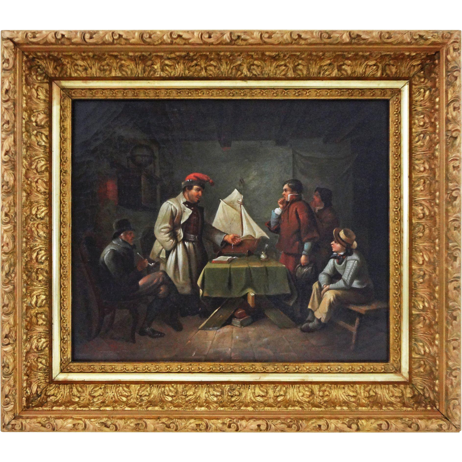 Oil on Canvas German Genre Painting The Pilot Exam  ( Das Lotsen-Examen ) - 19th Century, Germany