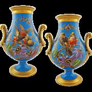 Pair Old Paris Porcelain Japonisme Ornithological Vases Turquoise Ground Incised Birds Faux Champleve - c. 1880, France
