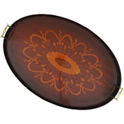 Large English Inlaid Mahogany Oval Serving Handled Tray - England