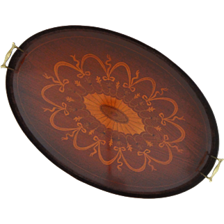 Large English Inlaid Mahogany Wood Oval Serving Brass Handled Tray - England