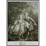 Royal Children Charles Philippe and Clotilde on a Goat Engraving by Beauvarlet after Drouais - c. 1767, France