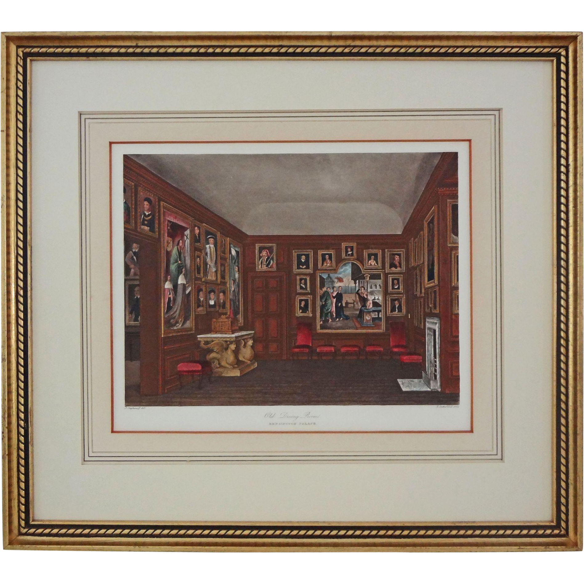 Antique Aquatint Old Dining Room Kensington Palace From
