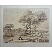 Sepia Etching after drawing from Claude Le Lorrain's Liber Veritatis ('Book of Truth') - Red Tag Sale Item