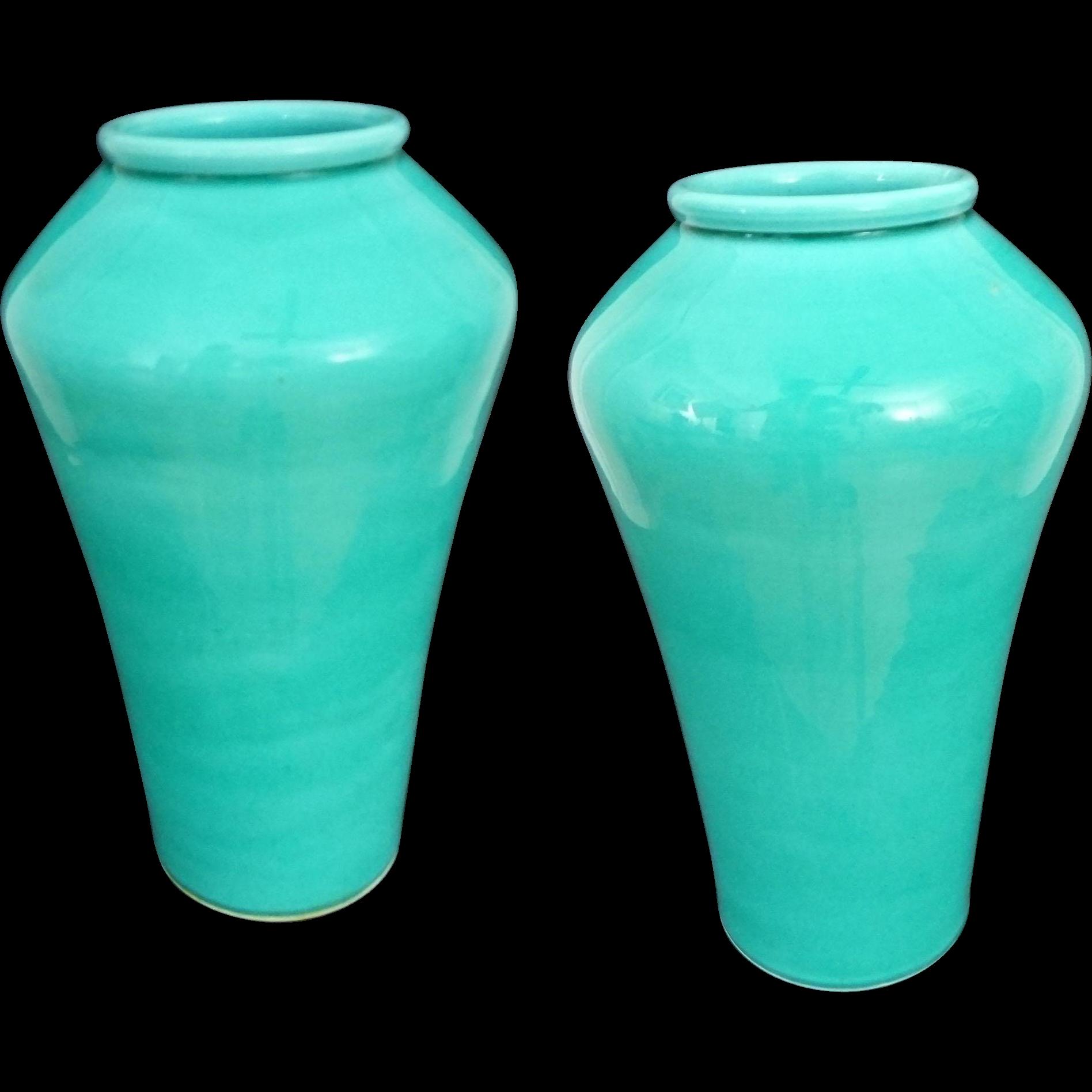 Pair Japanese Monochrome Light Turquoise Aqua Blue Green Glaze Pottery Vases - Pre 1922, Japan