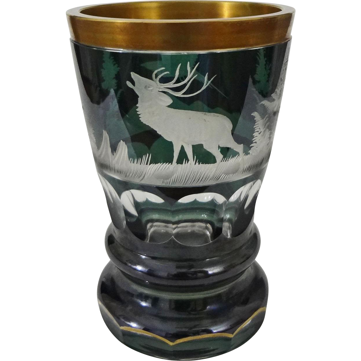 Bohemian Biedermeier Style Glass Beaker Green Clear Etched Deer, Forest