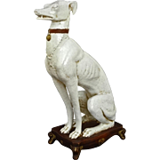 Italian Mid Century Ceramic Greyhound Whippet Dog Figure on Stand - 20th Century, Italy