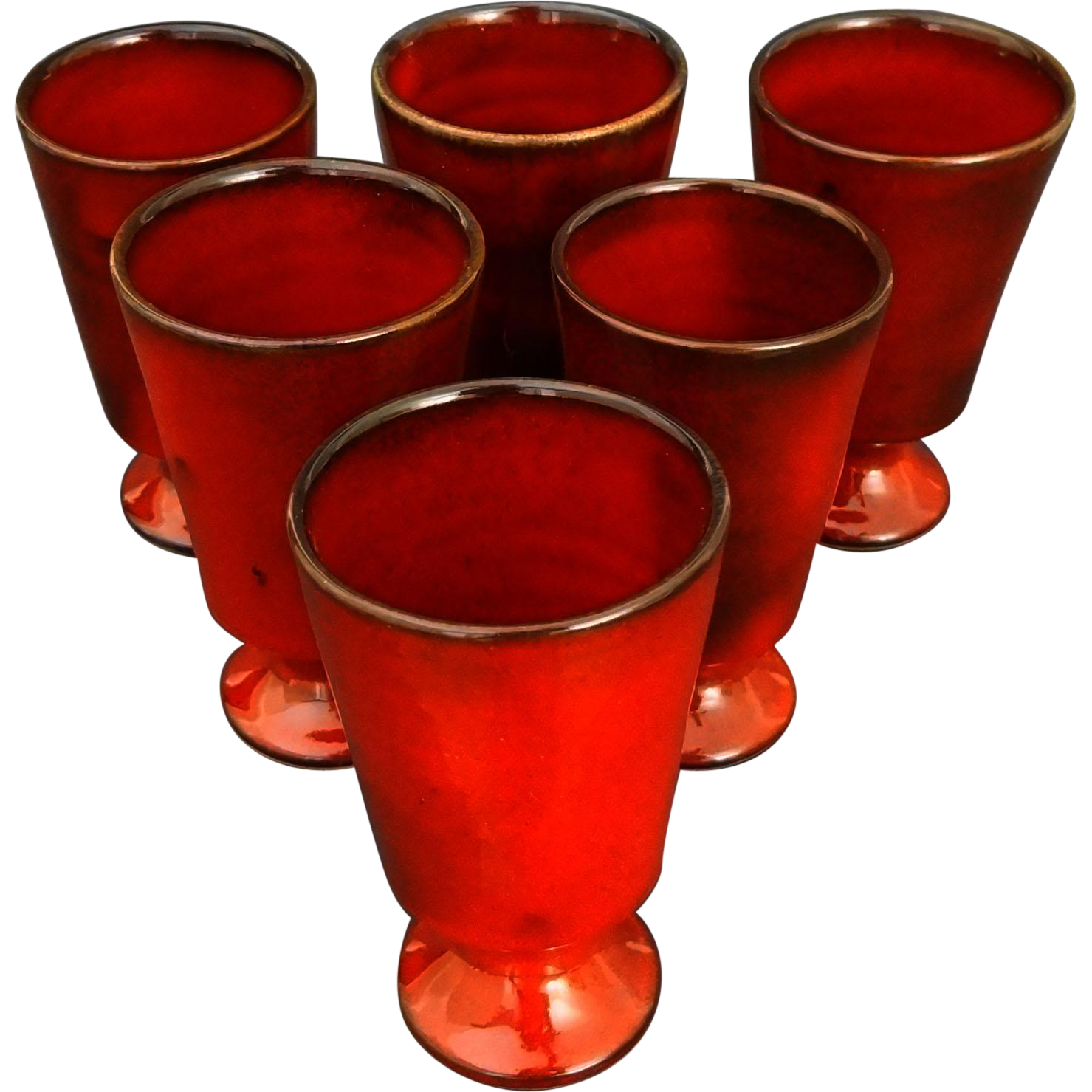 French Cote d'Azur Studio Pottery Red Glazed Faience Set of Six Drinking Vessels / Goblets signed Casy La Turbie - 20th Century, France