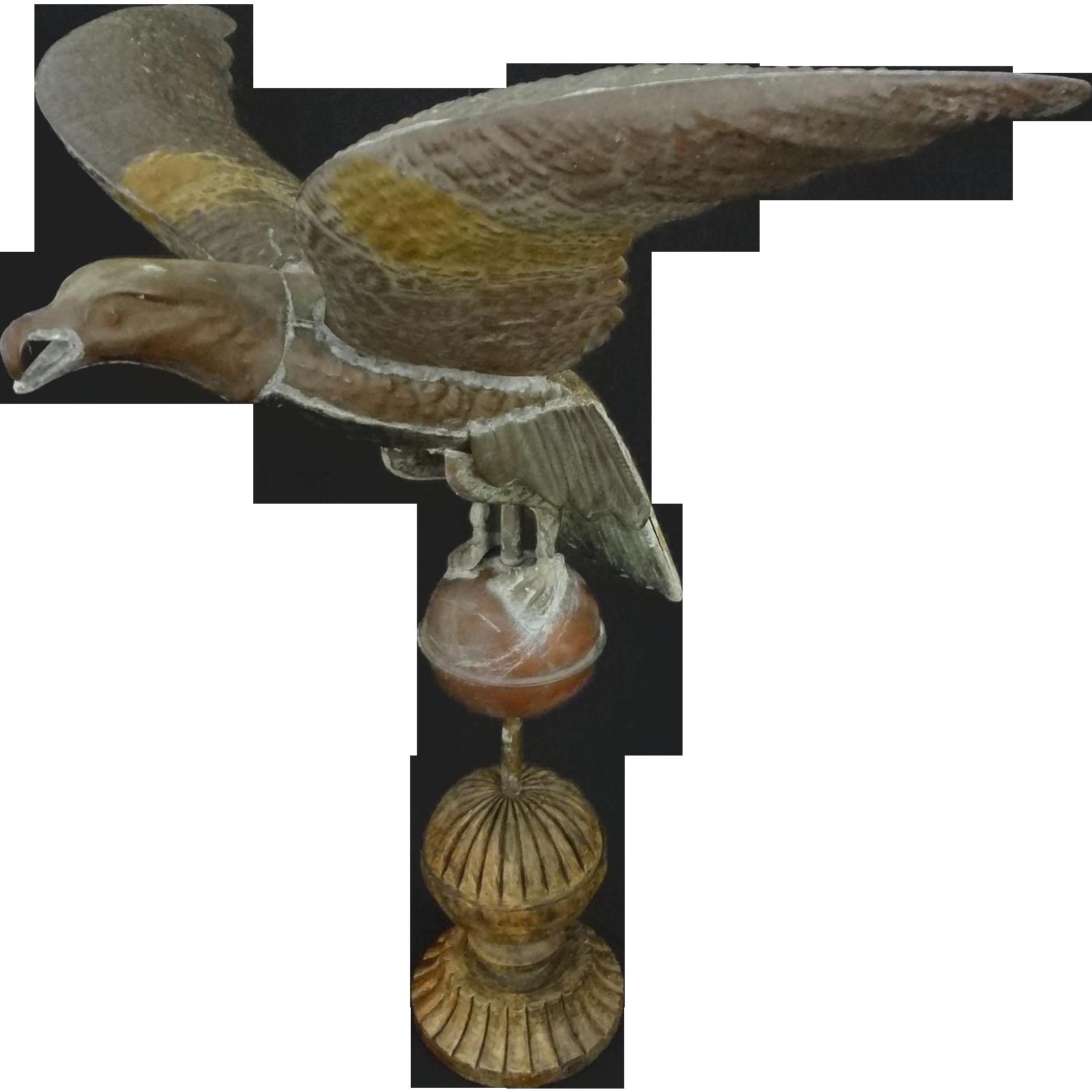 Molded Copper Spread Wings Eagle Weathervane on Ball Americana Folk Art