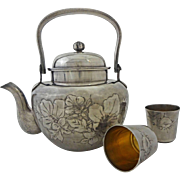 Asian Silver Teapot and Cups Character Signed Boxed Set - c. 1910 to 1938, Japan