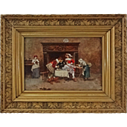 Antique Oil on Board Painting Fortune Teller signed Francisco Moles Spanish Segovia School - 1897, Spain