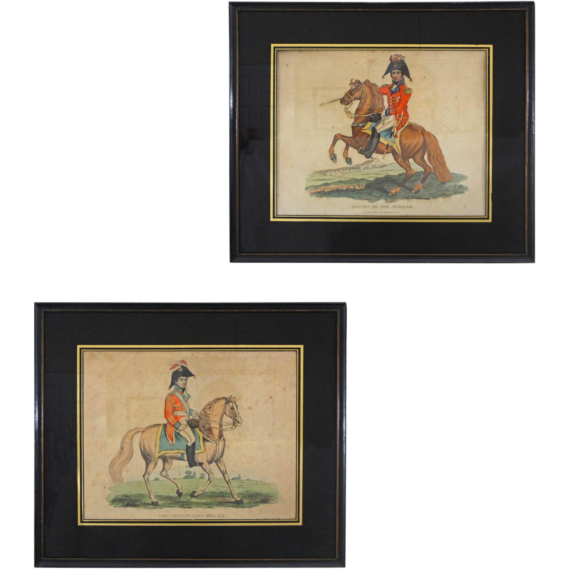 Pair Napoleonic War Allied Commanders Regimental Etchings  by John Romney - c. 1815, England