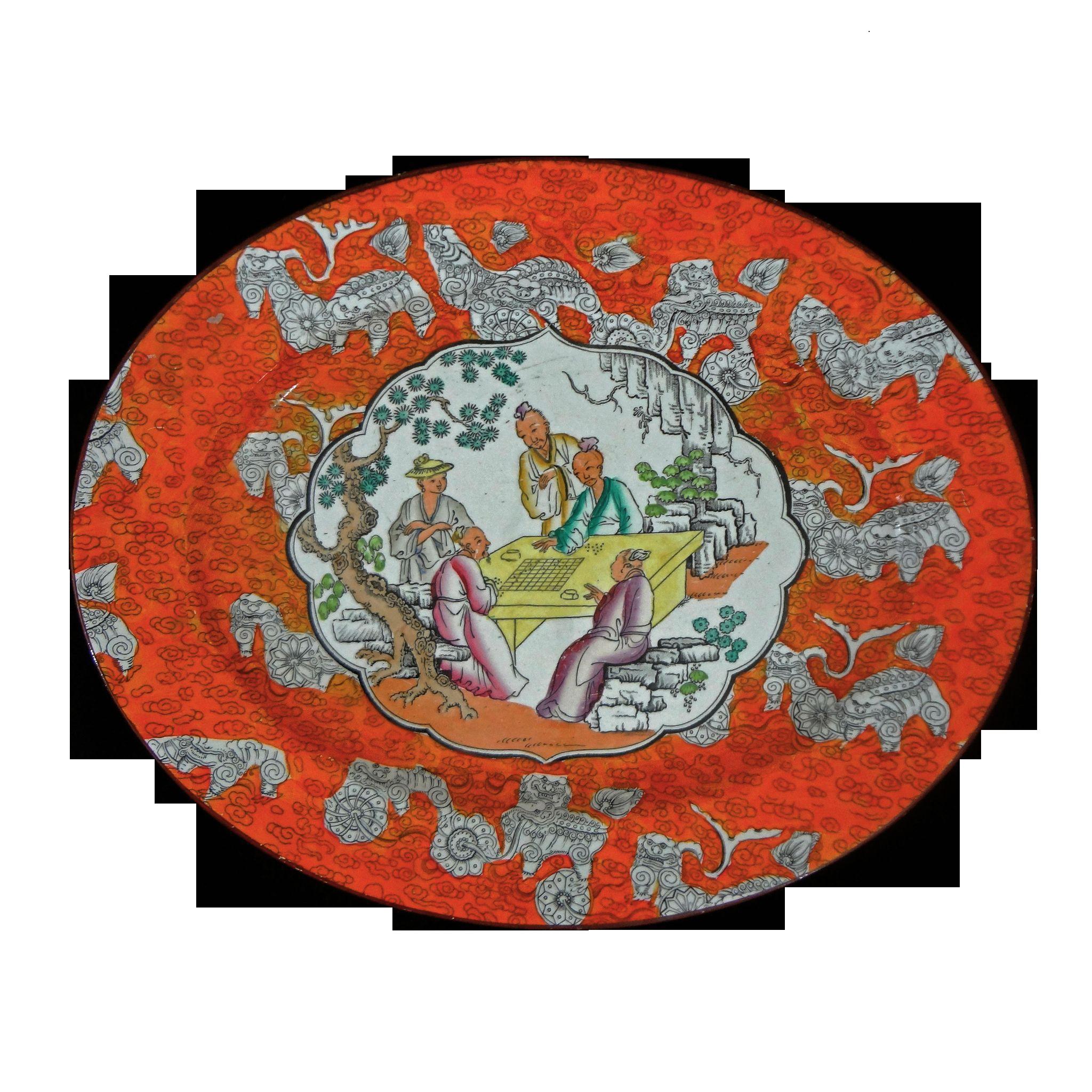 English Chinoiserie Platter Antique Orange English Large Oval Ashworth - c. 1862 to 1880, England
